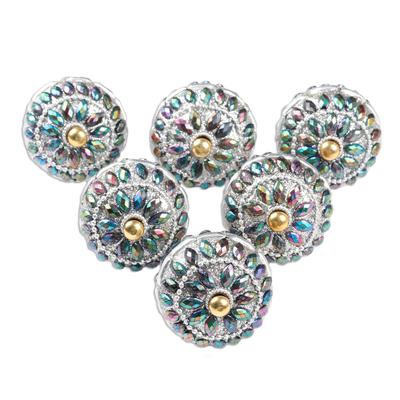 Embellished wood knobs, 'Rainbow Charm' (set of 6) - Iridescent Beaded Wood Drawer Knobs (Set of 6)