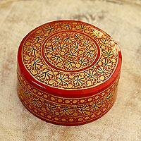 Papier mache decorative box, 'Kashmir Cinnabar' - Small Round Papier Mache Box from India