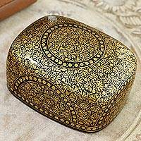 Papier mache decorative box, 'Kashmir Ebony' - Black and Gold Papier Mache Decorative Box