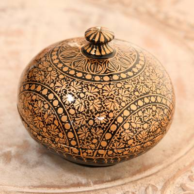 Papier mache decorative box, 'Kashmir Distinction' (4 inch) - Round Hand Painted Papier Mache Box (4 Inch)