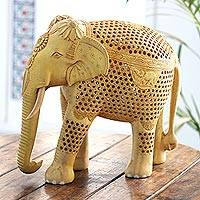 Wood jali sculpture, 'Imperial Elephant' - Hand Carved Wood Elephant Jali Sculpture