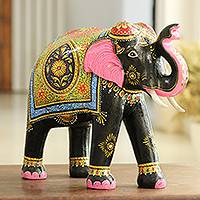 Wood sculpture, 'Splendid Elephant' - Colorful Handpainted Elephant Sculpture from India