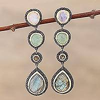 Multi-gemstone dangle earrings, 'Novel Palette'