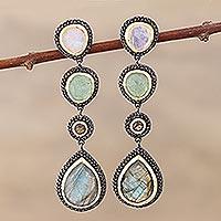 Multi-gemstone dangle earrings, 'Novel Palette' - Multi-Gemstone Long Dangle Earrings from India