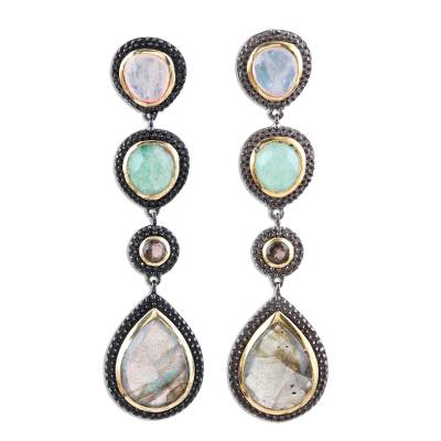 Multi-gemstone dangle earrings, 'Novel Palette' - Multi-Gemstone Long Dangle Earrings from India