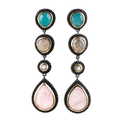 Multi-gemstone dangle earrings, 'Artist's Palette' - Artisan Crafted 925 Silver Gemstone Earrings with 18k Gold