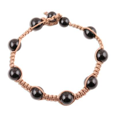 Hand-Knotted Black Onyx Macrame Bracelet from India