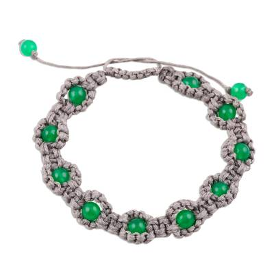Green Onyx Macrame Hand-Knotted Bracelet from India