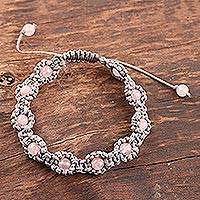 Rose quartz beaded bracelet, 'Macrame Halo' - Rose Quartz Macrame Hand-Knotted Bracelet from India