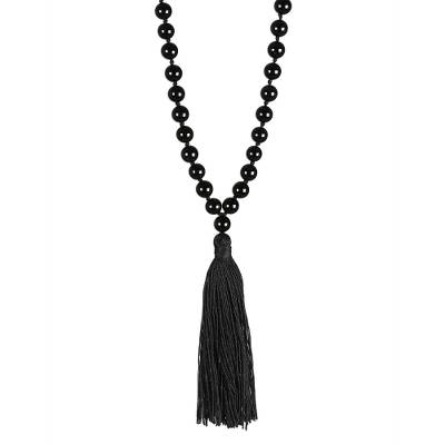 Hand Knotted Black Onyx Long Tassel Necklace