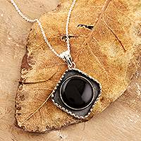 Onyx pendant necklace, 'Industrial Edge' - Industrial Chic Onyx Pendant Necklace from India