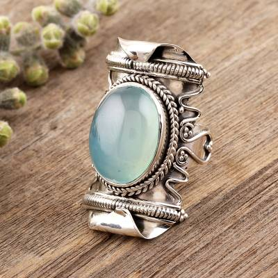 Chalcedony cocktail ring, 'Rajasthan Realm' - Aqua Chalcedony and Sterling Silver Cocktail Ring