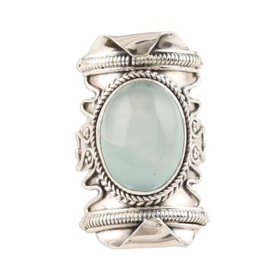 Aqua Chalcedony and Sterling Silver Cocktail Ring