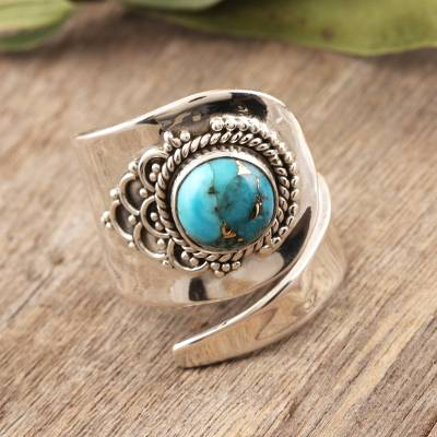 Sterling silver wrap ring, 'Mermaid Scales' - Composite Turquoise and Sterling Silver Wrap Ring
