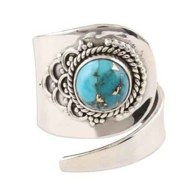 Composite Turquoise and Sterling Silver Wrap Ring