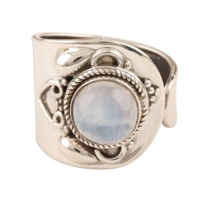 Wide Sterling Silver Cocktail Ring with Rainbow Moonstone