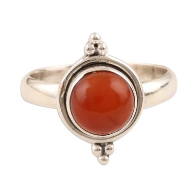 Simple Carnelian and Sterling Silver Ring from India