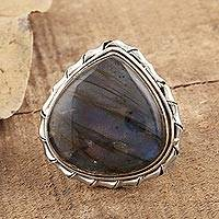Labradorite cocktail ring, 'Ocean Realm' - Artisan Crafted Labradorite and Sterling Silver Ring