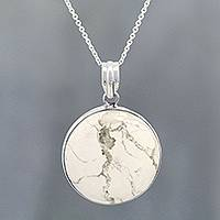 Howlite pendant necklace, 'White Planet' - Howlite Cabochon Pendant Necklace from India