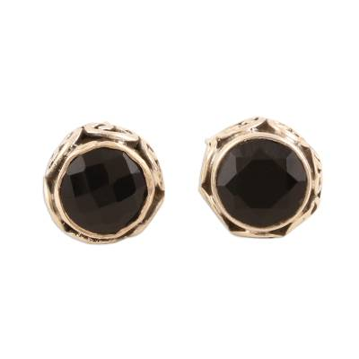 Small Black Onyx Stud Earrings from India