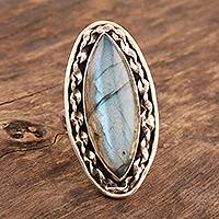Labradorite cocktail ring, 'Fascinating Flair' - Sterling Silver and Labradorite Cocktail Ring