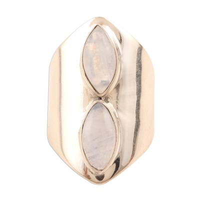 Rainbow Moonstone Wide Sterling Silver Ring