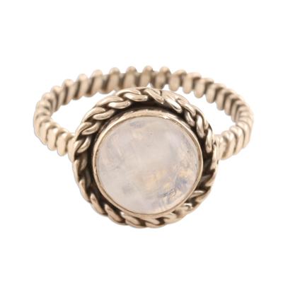 Rainbow Moonstone Single-Stone Ring from India