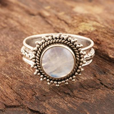 Rainbow moonstone cocktail ring, Chained