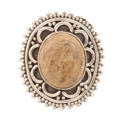 Earthy Jasper Cocktail Ring from India
