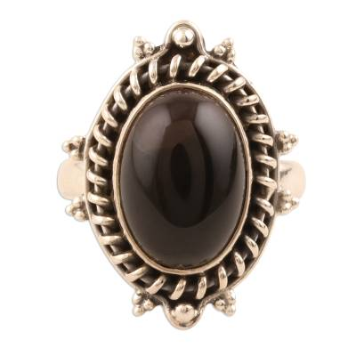 Onyx Cabochon Cocktail Ring from India