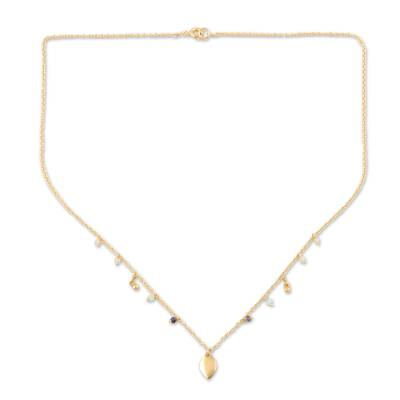 22k Gold Plated Chalcedony Pendant Necklace