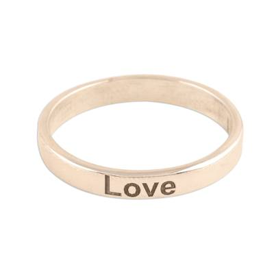 Sterling Silver Band Ring Inscribed with Love