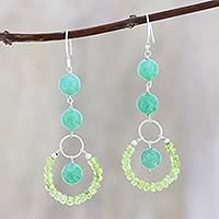 Aventurine and peridot dangle earrings, 'Lodhi Garden Path' - Peridot and Aventurine Dangle Earrings from India
