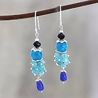 Quartz and spinel beaded dangle earrings, 'Midnight to Morning' - Blue Quartz and Black Spinel Dangle Earrings