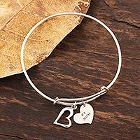 Sterling silver bangle charm bracelet, 'Number One Mom' - Number One Mom Sterling Silver Bangle Bracelet