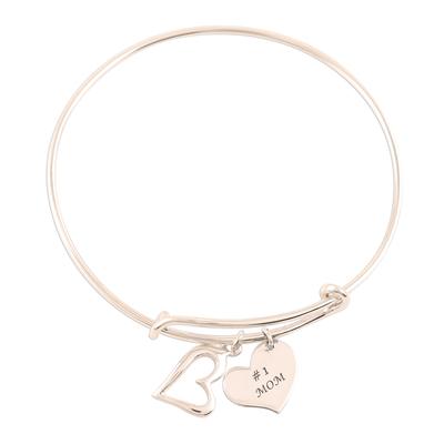 Sterling silver bangle charm bracelet, 'Number One Mom' - Number One Mom Sterling Silver Bangle Bracelet