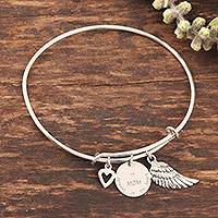 Sterling silver bangle charm bracelet, 'Forever In My Heart' - Sterling Silver Charm Bangle Bracelet for Mother