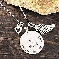 Sterling silver pendant necklace, 'Forever In My Heart' - Mother Themed Sterling Silver Pendant Necklace