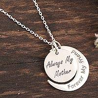 Sterling silver pendant necklace, 'Always My Mother' - Sterling Silver Pendant Necklace for Moms