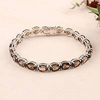 Rhodium-plated smoky quartz tennis bracelet, 'Tennis, Anyone?' - Smoky Quartz and Rhodium-Plated Silver Tennis Bracelet
