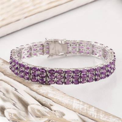 Rhodium plated amethyst wristband bracelet, Supreme Brilliance