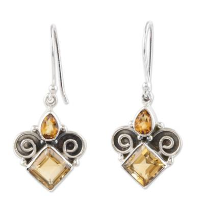 Citrine Dangle Earrings Handmade in India