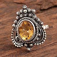 Citrine cocktail ring, 'Golden Magnificence' - Three Carat Citrine Cocktail Ring from India
