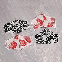 Cotton face masks, 'Bold Contrasts' (set of 4) - 4 White w/ Red & w/ Black 2-Layer Cotton Face Masks