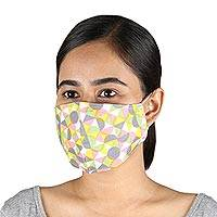 Cotton face masks, 'Happy Harlequin' (pair) - 2 Colorful Geometric Print Double Layer Cotton Face Masks