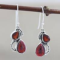 Garnet dangle earrings, 'Fireglow' - Faceted and Cabochon Garnet Dangle Earrings