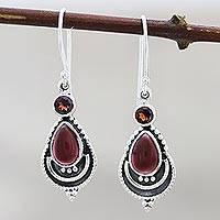 Garnet dangle earrings, 'Aravalli Allure ' - Garnet Dangle Earrings Hand Crafted in India