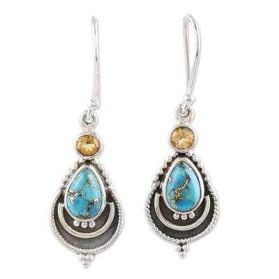 Citrine and Composite Turquoise Earrings from India