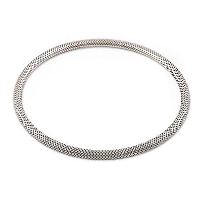 Sterling silver bangle bracelet, 'Grid' - Fine Grid Mesh Motif Sterling Silver Bangle Bracelet
