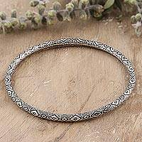 Sterling silver bangle bracelet, 'Diamond Saga'